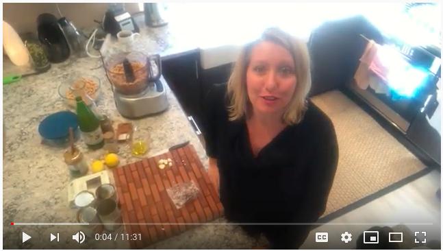 Heather cooking Hummus